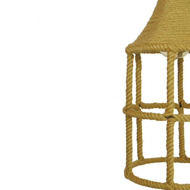 Vintage Κρεμαστό Φωτιστικό Οροφής Μονόφωτο Πλέγμα με Μπεζ Σχοινί Φ22 GloboStar YUBA 01612 - 8