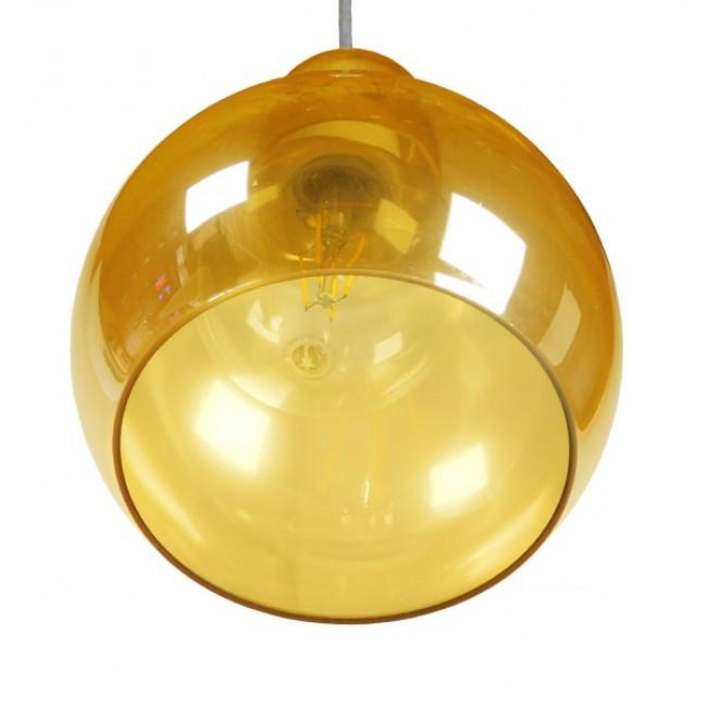 Μοντέρνο Κρεμαστό Φωτιστικό Οροφής Μονόφωτο Γυάλινο Μελί Διάφανο Φ18 GloboStar LUNATICA 01315 - 6