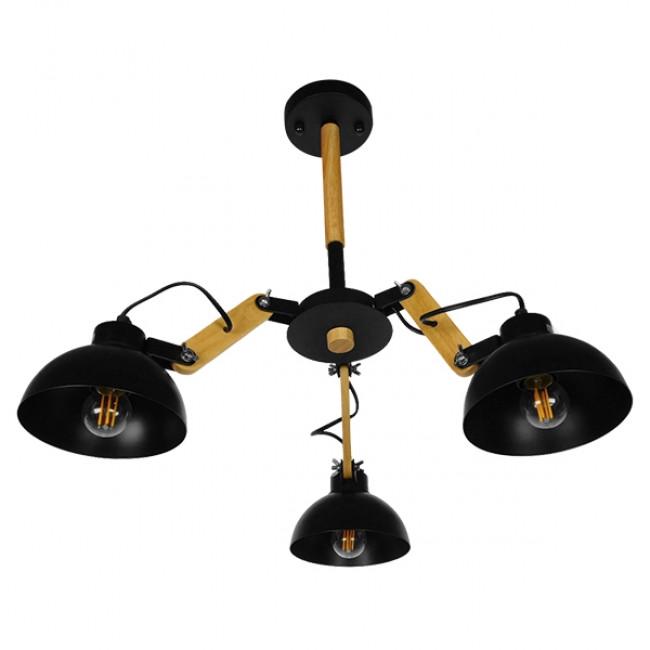 Μοντέρνο Industrial Φωτιστικό Οροφής Τρίφωτο Μαύρο Μεταλλικό με Φυσικό Ξύλο Καμπάνα Φ75 GloboStar OLD SCHOOL 01093 - 4