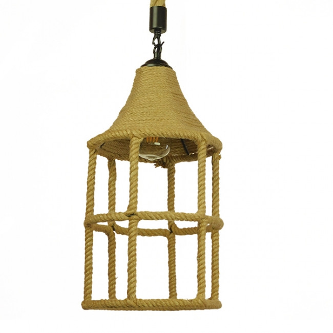 Vintage Κρεμαστό Φωτιστικό Οροφής Μονόφωτο Πλέγμα με Μπεζ Σχοινί Φ22 GloboStar YUBA 01612 - 3