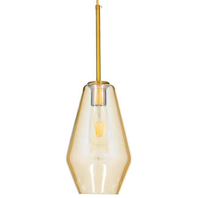 GloboStar® AMARIS 00871 Μοντέρνο Κρεμαστό Φωτιστικό Οροφής Μονόφωτο Γυάλινο Φιμέ Μελί Φ17 x 30CM - 4