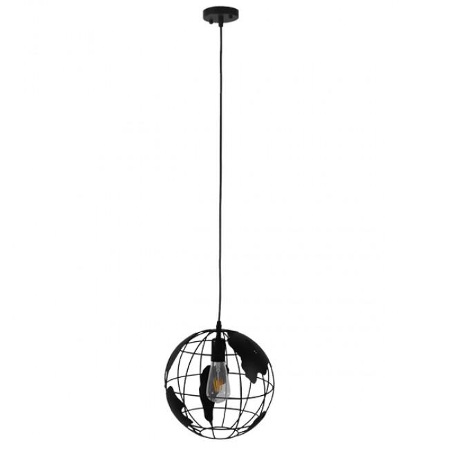 Vintage Industrial Κρεμαστό Φωτιστικό Οροφής Μονόφωτο Μαύρο Μεταλλικό Πλέγμα Φ30  WORLD 01205 - 2