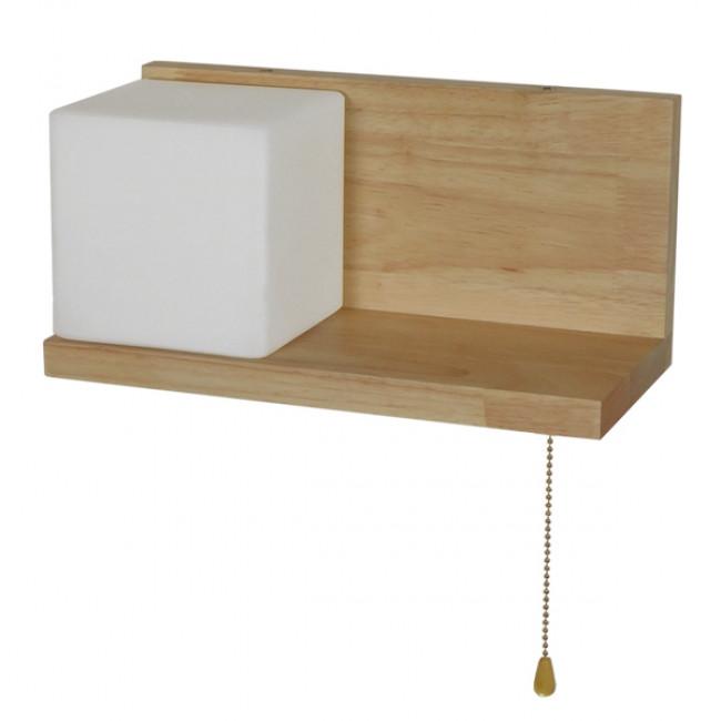 Μοντέρνο Φωτιστικό Τοίχου Απλίκα Ραφάκι Μονόφωτο Ξύλινο με Λευκό Ματ Γυαλί GloboStar AMITY LEFT 01365 - 3