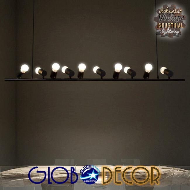 Μοντέρνο Κρεμαστό Φωτιστικό Οροφής Πολύφωτο Μαύρο Μεταλλικό Ράγα GloboStar ALFREDA 01242 - 14