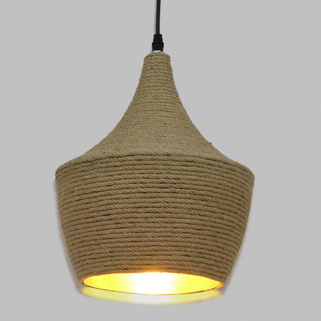 Vintage Κρεμαστό Φωτιστικό Οροφής Μονόφωτο με Μπεζ Σχοινί Καμπάνα  BEIJING Φ24 00916 - 2