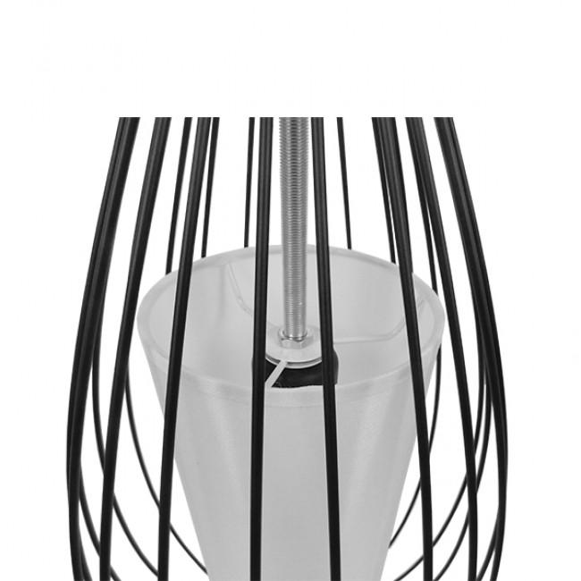 Vintage Industrial Κρεμαστό Φωτιστικό Οροφής Μονόφωτο Μαύρο Μεταλλικό Πλέγμα και Υφασμάτινο Εσωτερικό Καπέλο Φ20 GloboStar CLEO 01561 - 7