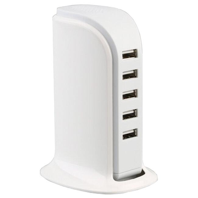 Επιτραπέζιος Φορτιστής USB 5 Θέσεων 6A 30 Watt 5V DC Λευκός GloboStar 69999 - 2