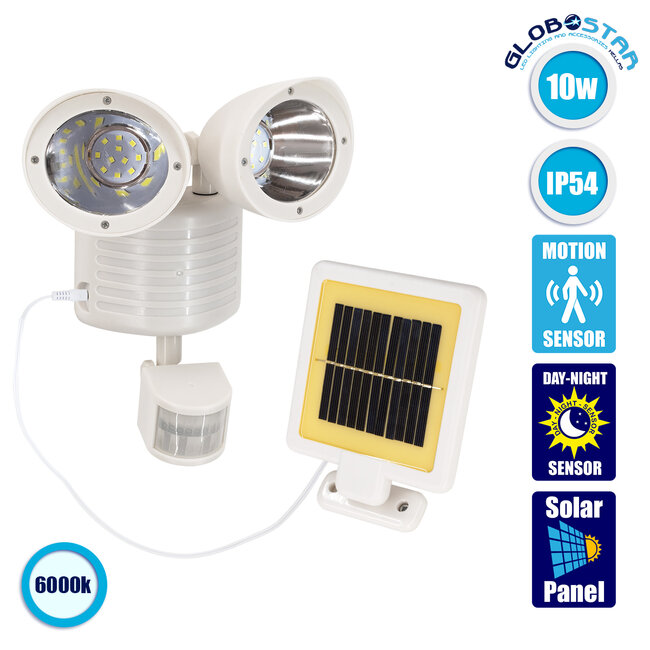 GloboStar® 71508 Αυτόνομο Ηλιακό Φωτιστικό LED SMD 10W 150lm με Ενσωματωμένη Μπαταρία 1200mAh - Φωτοβολταϊκό Πάνελ με Αισθητήρα Ημέρας-Νύχτας και PIR Αισθητήρα Κίνησης Αδιάβροχο IP54 Ψυχρό Λευκό 6000K - 1