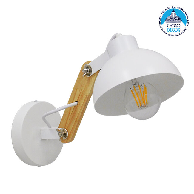 Μοντέρνο Φωτιστικό Τοίχου Απλίκα Μονόφωτο Λευκό με Ξύλινο Βραχίονα Μεταλλικό Φ15 GloboStar GRANT WHITE 00903 - 1