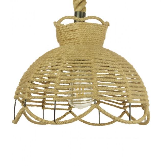 Vintage Κρεμαστό Φωτιστικό Οροφής Μονόφωτο Πλέγμα με Μπεζ Σχοινί Φ34 GloboStar VENIER 01610 - 3