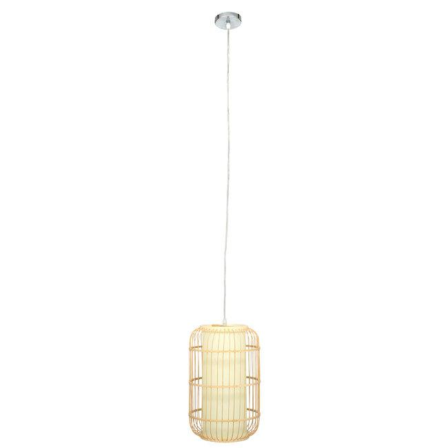 DE PARIS 00893 Vintage Κρεμαστό Φωτιστικό Οροφής Μονόφωτο Μπεζ Ξύλινο Bamboo Φ25 x Υ42cm - 3