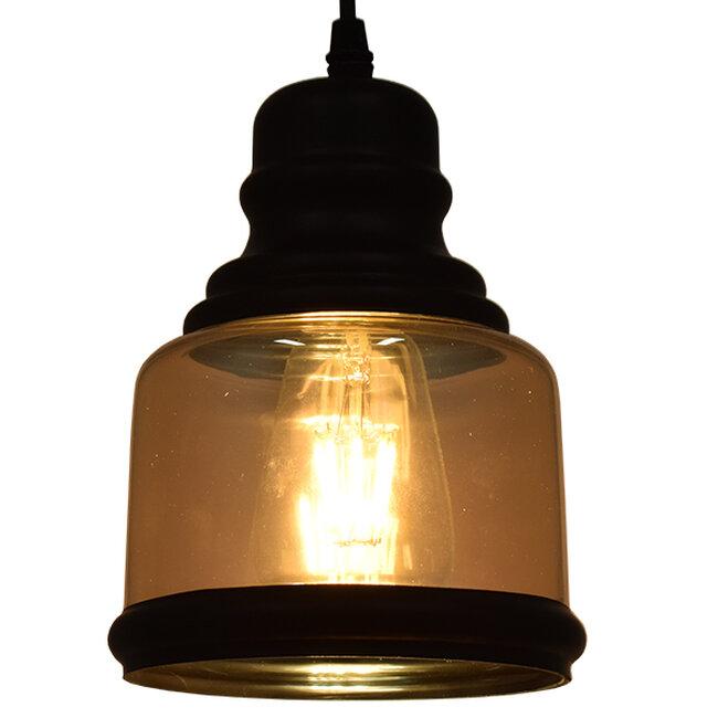 Vintage Κρεμαστό Φωτιστικό Οροφής Μονόφωτο Γυάλινο Μελί Διάφανο Φ15  WILLIAM 01506 - 2