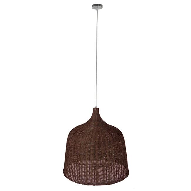 Vintage Κρεμαστό Φωτιστικό Οροφής Μονόφωτο Καφέ Ξύλινο Ψάθινο Rattan Φ60  ARGENTO 01369 - 2