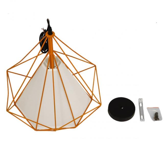 Μοντέρνο Industrial Κρεμαστό Φωτιστικό Οροφής Μονόφωτο Πορτοκαλί με Άσπρο Ύφασμα Μεταλλικό Πλέγμα Φ38  KAIRI ORANGE 01621 - 8