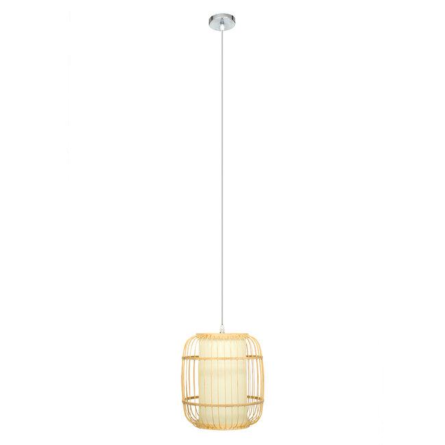 GloboStar® DE PARIS 01633 Vintage Κρεμαστό Φωτιστικό Οροφής Μονόφωτο Μπεζ Ξύλινο Bamboo Φ26 x Y32cm - 3