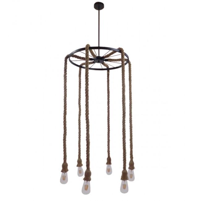 Vintage Κρεμαστό Φωτιστικό Οροφής Πολύφωτο Μαύρο με Μπεζ Σχοινί Φ55 GloboStar CHARIOT 01148 - 2