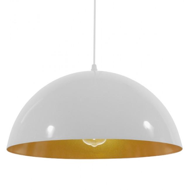 Μοντέρνο Κρεμαστό Φωτιστικό Οροφής Μονόφωτο Λευκό Χρυσό Μεταλλικό Καμπάνα Φ40 GloboStar LUNE 01339