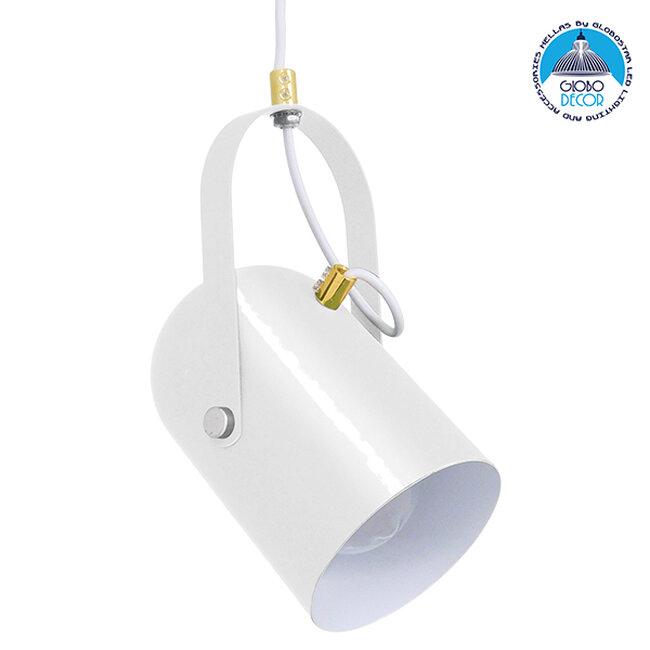 Μοντέρνο Κρεμαστό Φωτιστικό Οροφής Μονόφωτο Λευκό Glossy με Χρυσές Λεπτομέρειες Μεταλλικό Φ12cm  HAZEL WHITE GLOSSY 00924 - 1