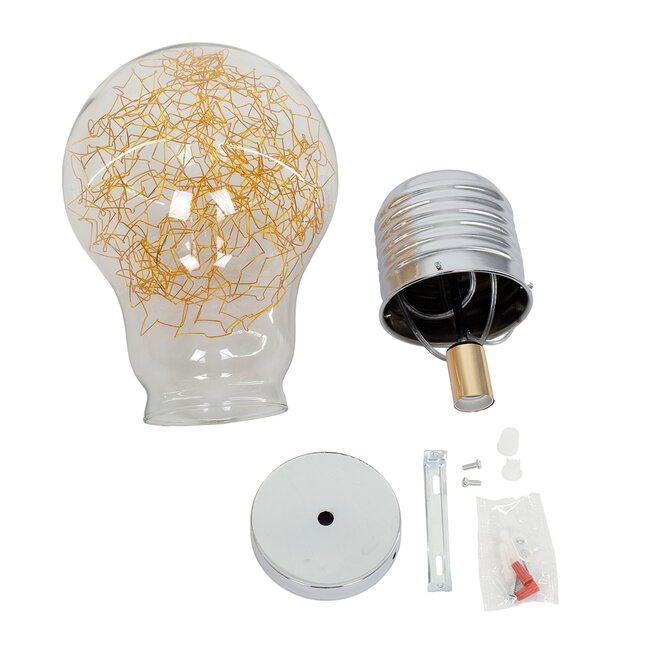 LAMP 00808 Μοντέρνο Κρεμαστό Φωτιστικό Οροφής Μονόφωτο Ασημί Νίκελ Βάση και Χρυσό Ντουί Μεταλλικό Διάφανο Γυαλί Φ30 x Υ52cm - 8
