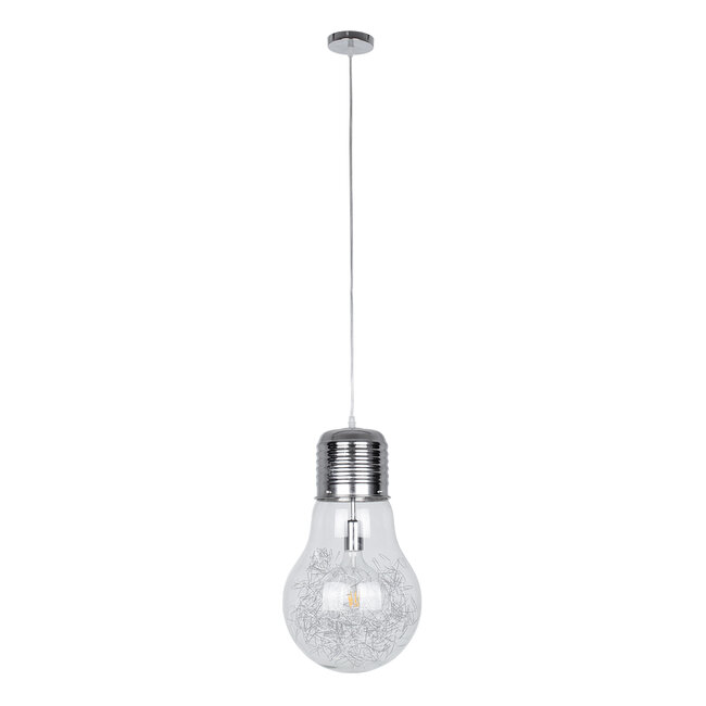 LAMP 01677 Μοντέρνο Κρεμαστό Φωτιστικό Οροφής Μονόφωτο Ασημί Νίκελ Μεταλλικό Διάφανο Γυαλί Φ30 x Υ52cm - 4