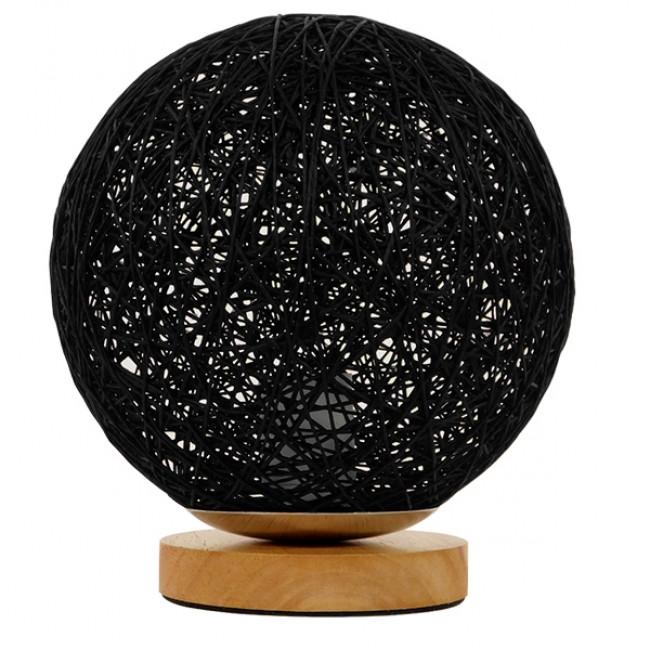 Μοντέρνο Επιτραπέζιο Φωτιστικό Πορτατίφ Μονόφωτο Μαύρο Ξύλινο Ψάθινο Rattan Φ20 GloboStar INDUS 01338 - 1