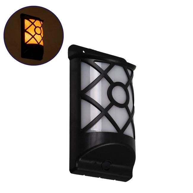 71457 Αυτόνομο Ηλιακό Φωτιστικό Τοίχου Μαύρο LED SMD 3W 220lm με Ενσωματωμένη Μπαταρία 300mAh - Εφέ Φλόγας Flame Effect - Φωτοβολταϊκό Πάνελ με Αισθητήρα Ημέρας-Νύχτας IP65 Θερμό Λευκό 2200K - 2