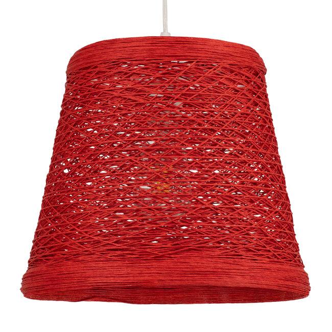 PLAYROOM 00863 Vintage Κρεμαστό Φωτιστικό Οροφής Μονόφωτο Κόκκινο Ξύλινο Ψάθινο Rattan Φ32 x Υ27cm - 2