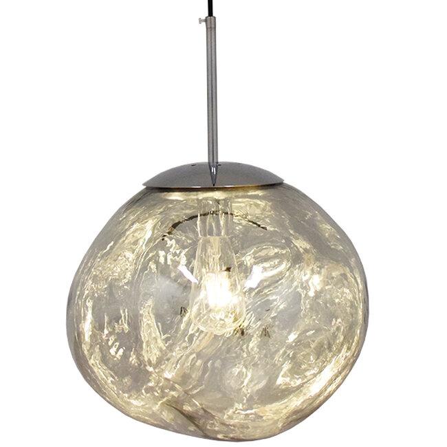Μοντέρνο Κρεμαστό Φωτιστικό Οροφής Μονόφωτο Γυάλινο Ασημί Νίκελ Φ36  DIXXON CHROME 01464 - 2
