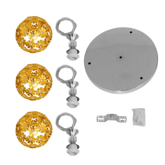 Μοντέρνο Κρεμαστό Φωτιστικό Οροφής Τρίφωτο Χρυσό Μεταλλικό με Κρύσταλλα Φ50 GloboStar MARGARITA 01670 - 8