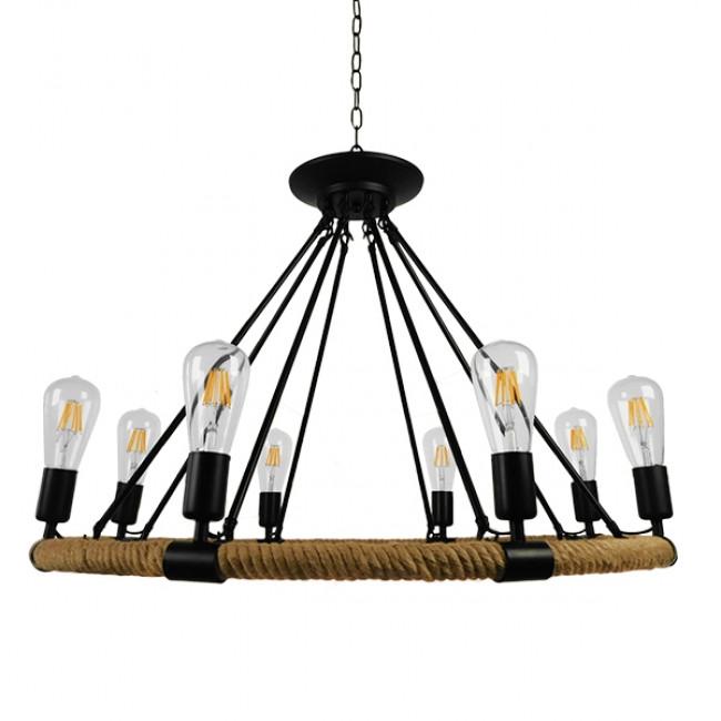 Vintage Κρεμαστό Φωτιστικό Οροφής Πολύφωτο Μαύρο Μεταλλικό με Μπεζ Σχοινί Φ80 GloboStar MILLBANK 01423 - 3