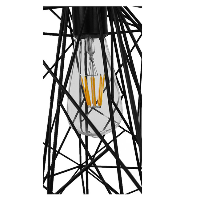 Vintage Industrial Kρεμαστό Φωτιστικό Οροφής Μονόφωτο Μαύρο Μεταλλικό Πλέγμα Φ32  GRID 01022 - 7