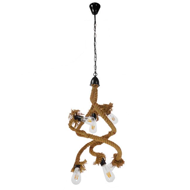 Vintage Κρεμαστό Φωτιστικό Οροφής Πολύφωτο Μαύρο Μεταλλικό με Μπεζ Σχοινί Φ40  HAMTINE 01229 - 2