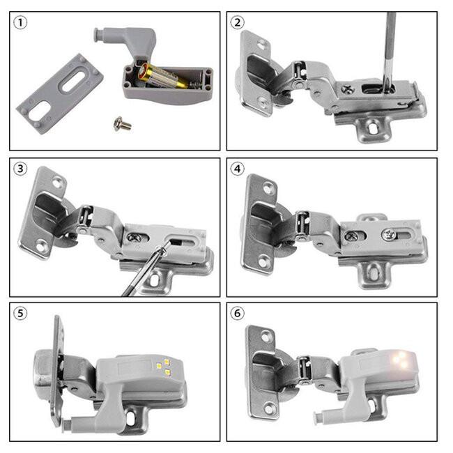 Φωτιστικό Ντουλάπας LED για Μεντεσέ με Διακόπτη On/Off Κουμπωτό με Μπαταρία(συμπεριλαμβάνεται) Θερμό Λευκό 3000k GloboStar 07031 - 2