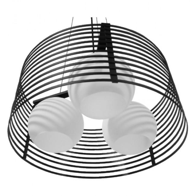 Μοντέρνο Κρεμαστό Φωτιστικό Οροφής Τρίφωτο Μαύρο Μεταλλικό Πλέγμα με Καμπάνα απο Λευκό Γυαλί Φ40 GloboStar KEVIA 01150 - 5