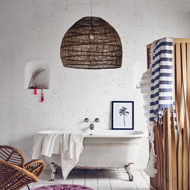 GloboStar® MALIBU 00967 Vintage Κρεμαστό Φωτιστικό Οροφής Μονόφωτο Λευκό Ξύλινο Bamboo Φ97 x Y86cm - 9