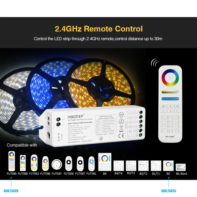 GloboStar® 73422 Ασύρματος RF 2.4Ghz LED RGBW + WW Smart Controller Mi-Light LS2 MiBOXER RF 2.4G DC 12-24V Max 360W - 10