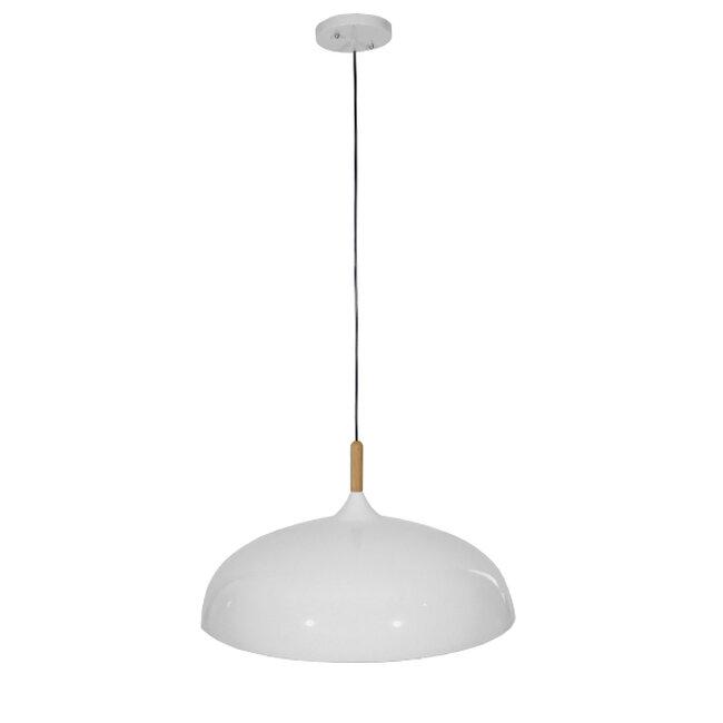 Μοντέρνο Κρεμαστό Φωτιστικό Οροφής Μονόφωτο Λευκό Μεταλλικό Καμπάνα Φ60  VALLETE WHITE 01257 - 2