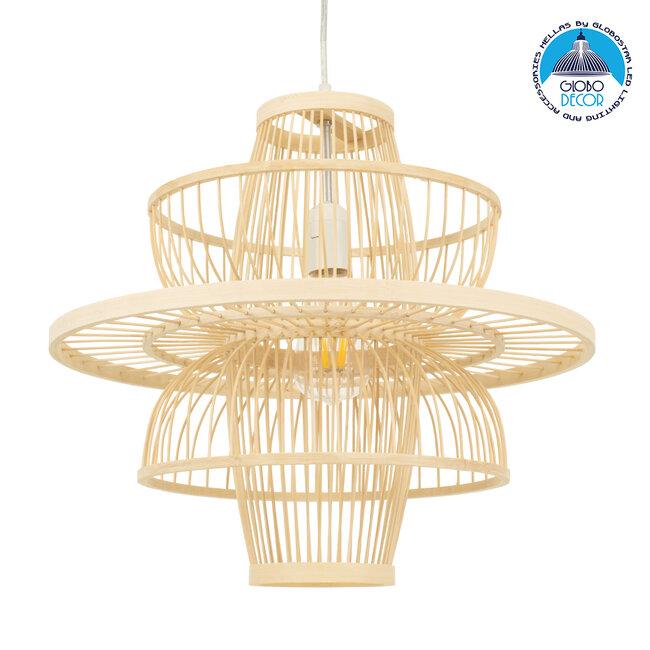 BALI 00861 Vintage Κρεμαστό Φωτιστικό Οροφής Μονόφωτο Μπεζ Ξύλινο Bamboo Φ45 x Y42.5cm - 1
