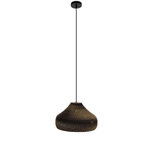 Vintage Κρεμαστό Φωτιστικό Οροφής Μονόφωτο 3D από Επεξεργασμένο Σκληρό Καφέ Χαρτόνι Καμπάνα Φ35  MILOS 01291 - 2
