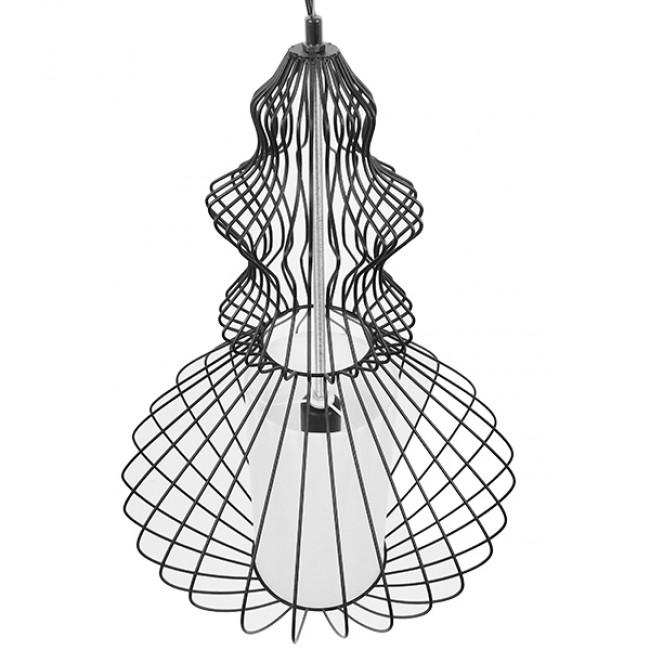 Vintage Industrial Κρεμαστό Φωτιστικό Οροφής Μονόφωτο Μαύρο Μεταλλικό Πλέγμα και Υφασμάτινο Εσωτερικό Καπέλο Φ40 GloboStar LILY 01558 - 4