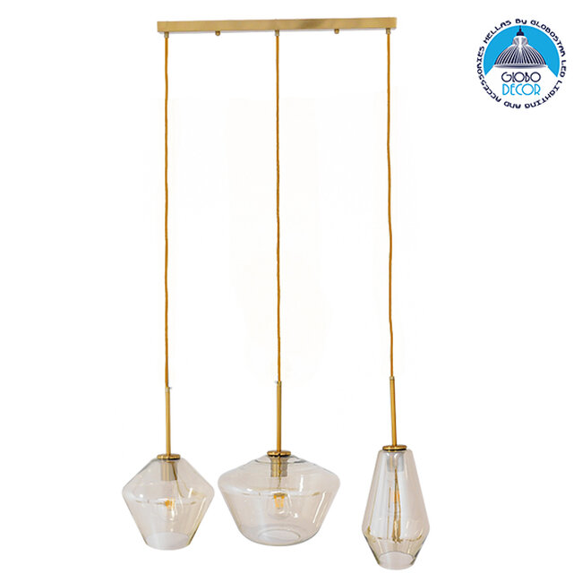 Μοντέρνο Κρεμαστό Φωτιστικό Οροφής Τρίφωτο Μελί Χρυσό με Γυαλί  KETALIN 00977 - 1