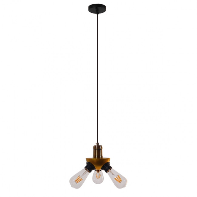 Vintage Ιndustrial Κρεμαστό Φωτιστικό Οροφής Τρίφωτο Χρυσό Μεταλλικό Φ12 GloboStar COPPER 01076 - 2