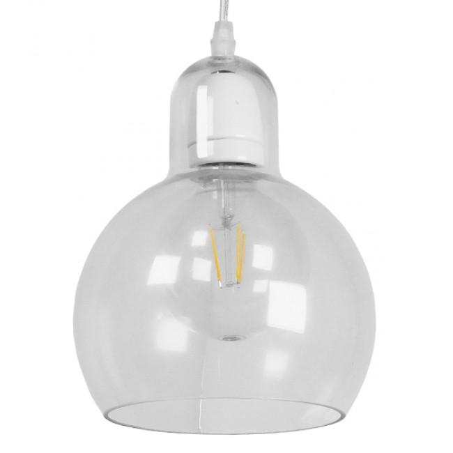Μοντέρνο Κρεμαστό Φωτιστικό Οροφής Μονόφωτο Γυάλινο Διάφανο Φ18 GloboStar LUCREZIA 01314 - 1