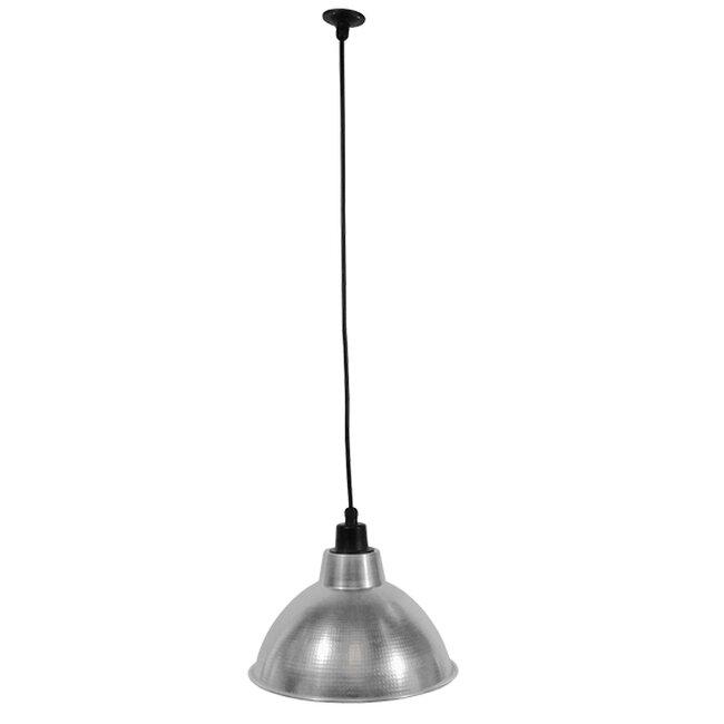 Vintage Industrial Κρεμαστό Φωτιστικό Οροφής Μονόφωτο Ασημί Μεταλλικό Καμπάνα Φ39  LOUVE SILVER 01178 - 2