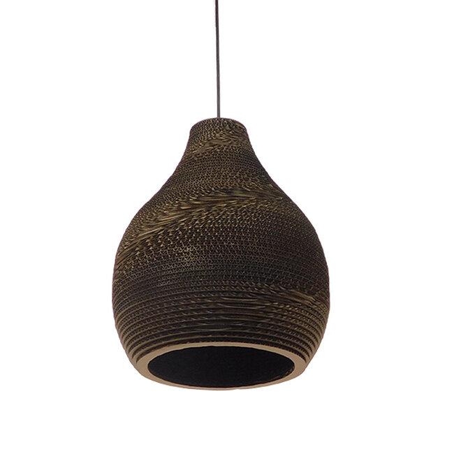 Vintage Κρεμαστό Φωτιστικό Οροφής Μονόφωτο 3D από Επεξεργασμένο Σκληρό Καφέ Χαρτόνι Καμπάνα Φ30  MYKONOS 01292 - 3