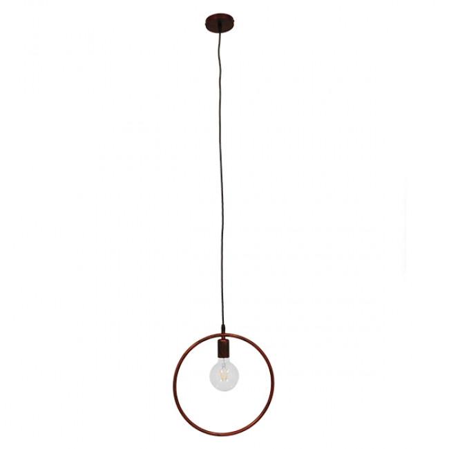 Μοντέρνο Κρεμαστό Φωτιστικό Οροφής Μονόφωτο Καφέ Σκουριά Μεταλλικό Φ33 GloboStar OMICRON IRON RUST 01579 - 2