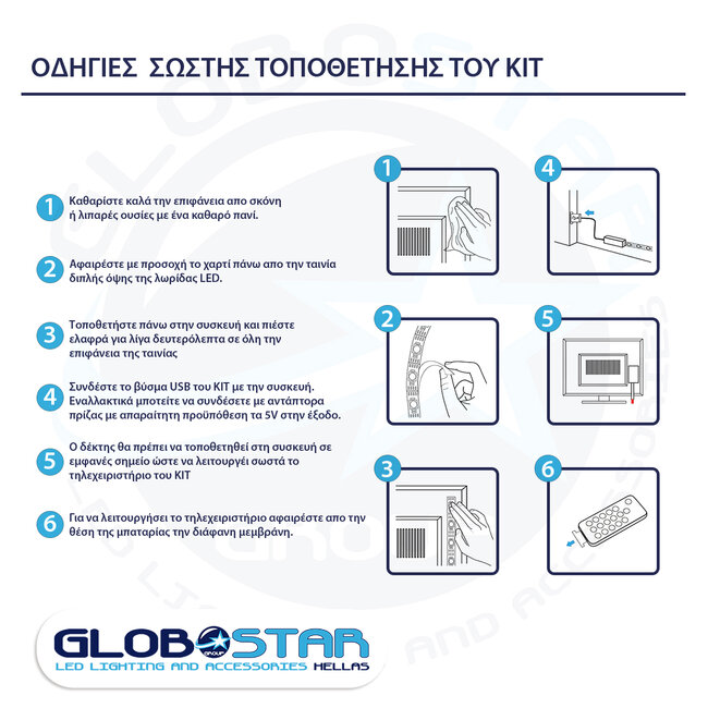 GloboStar 70406 Σετ Ταινία TV Kit LED RGB SMD 5050 2m (4x50CM) 14.4W/2m 60LED/2m 1454 lm/2m 120° USB DC 5V Οπίσθιου Κρυφού Φωτισμού για Τηλεόραση με Ασύρματο Τηλεχειριστήριο Αδιάβροχο IP65 RGB - 8
