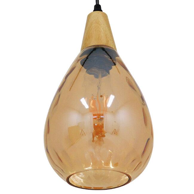 Μοντέρνο Κρεμαστό Φωτιστικό Οροφής Μονόφωτο Γυάλινο με Ξύλο Μελί Φ16  NOAH GOLD 01490 - 6