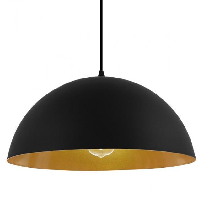 Μοντέρνο Κρεμαστό Φωτιστικό Οροφής Μονόφωτο Μαύρο Χρυσό Μεταλλικό Καμπάνα Φ40 GloboStar CIEL 01341