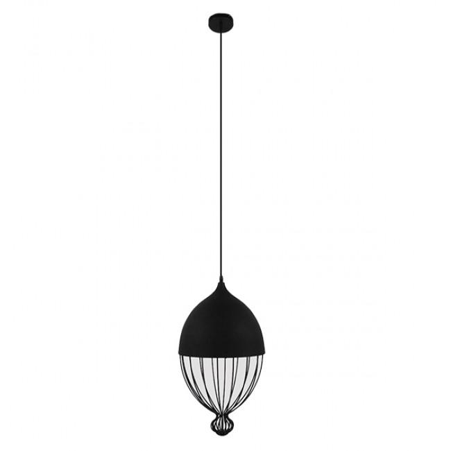 Vintage Κρεμαστό Φωτιστικό Οροφής Μονόφωτο Μαύρο Μεταλλικό Πλέγμα Φ28 GloboStar CANARIO 01107 - 2